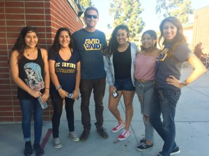 Valencia High School students and staff enjoying themselves at the AVID tailgate.