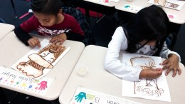 Ruby Drive students participating in art.