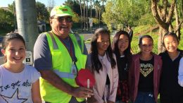 Lakeview students and their crossing guard.