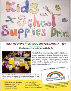 The school supply drive flyer Alex distributed locally.
