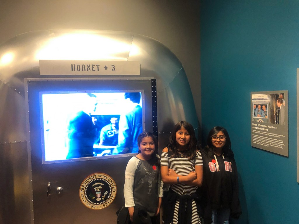 Glenview Elementary School students tour the Apollo 11 exhibit at the Richard Nixon Presidential Library and Museum.