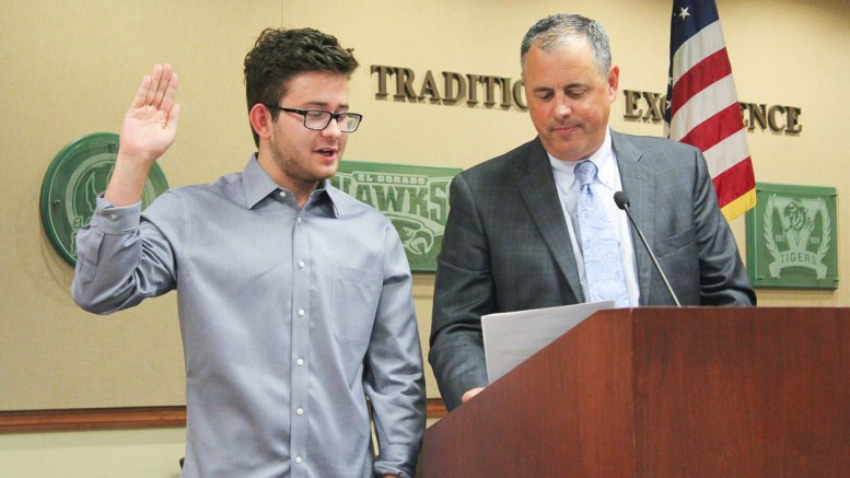 Nathan taking his Oath of Office at the July 9 Board of Education meeting with PYLUSD Superintendent, Dr. Greg Plutko.