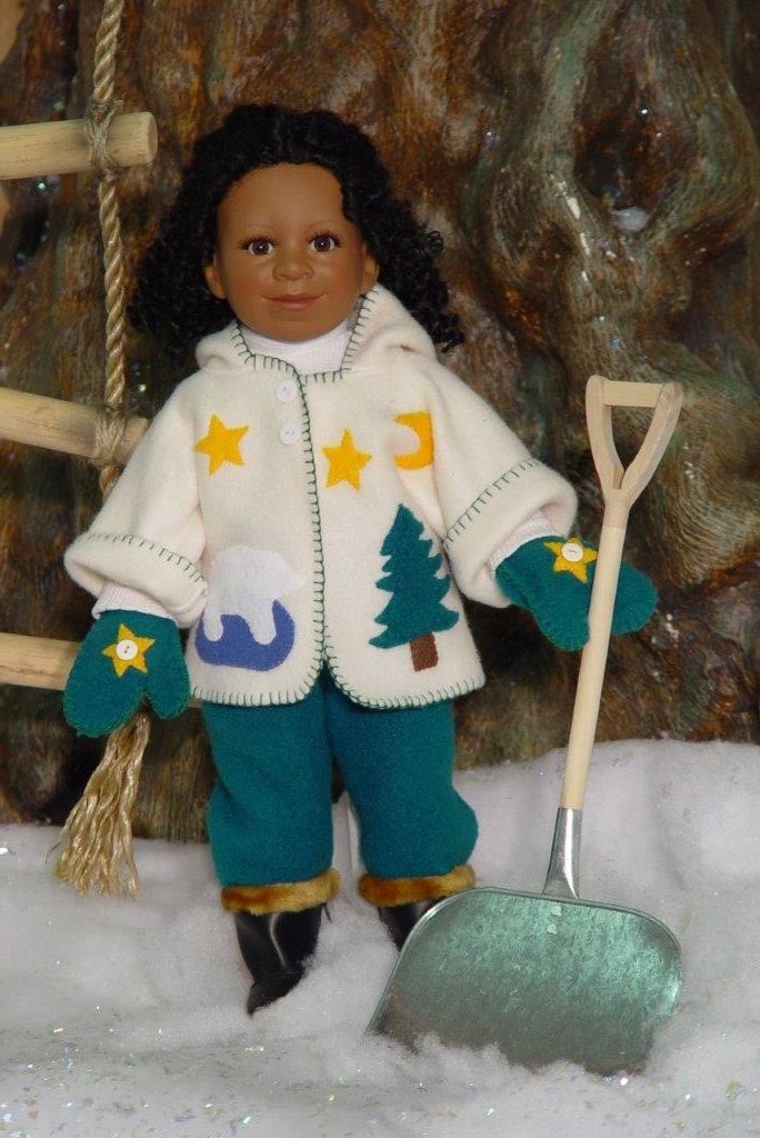 Deborah shoveling snow