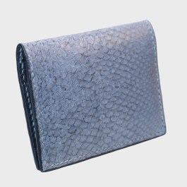 Gray salmon bifold fishleather card wallet