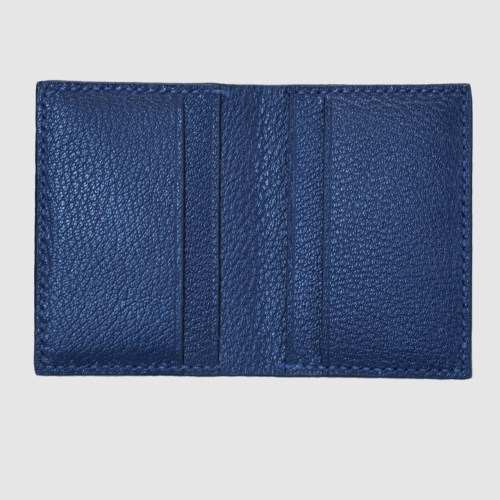 Blue salmon bifold fishleather card wallet interior