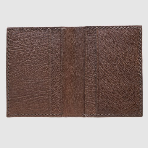 Brown salmon bifold fishleather card wallet interior