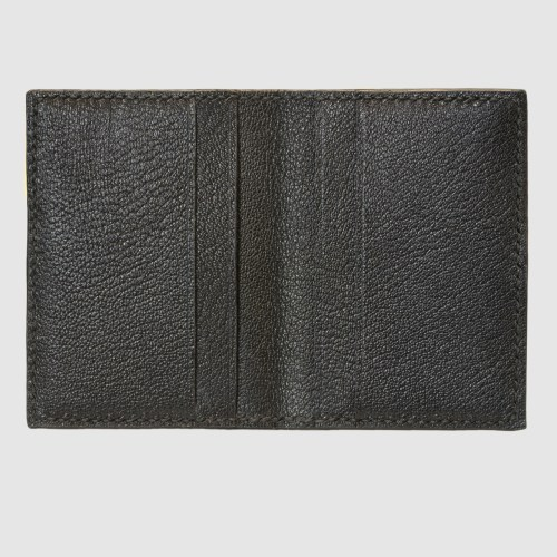 Black salmon bifold fishleather card wallet interior