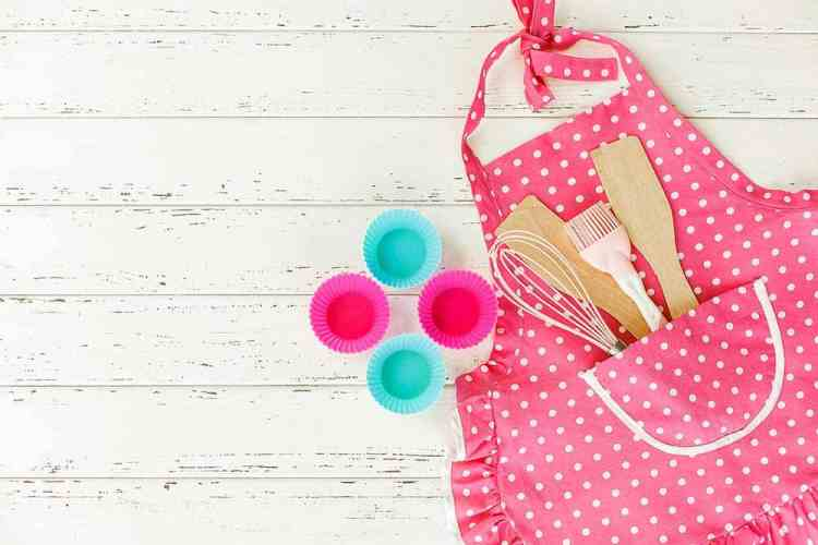 pink apron, cupcakes, dangerous toys