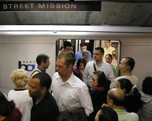 BART Crowd Exiting