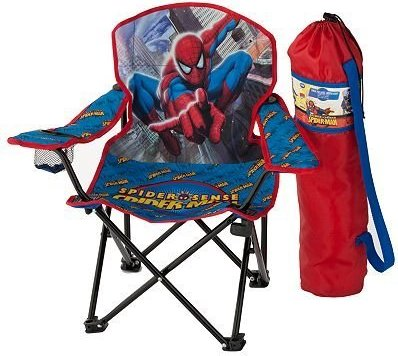 youth folding chair extra wide lawn chairs 636533110734 spiderman with armrest and cup holder photo 1 2
