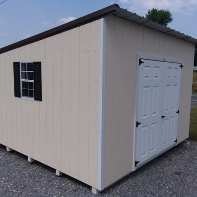 12 x 12 Painted Economy (MO# 488) Navajo White Siding, White Trim, Burnished Slate Roof and Black Shutters. $2,437.40