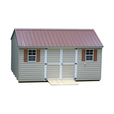 A vinyl shed with a metal, a-roof style roof. Shed has a 6 foot wide set of GGS, solid, doors. It also has a wooden ramp and two windows with shutters.