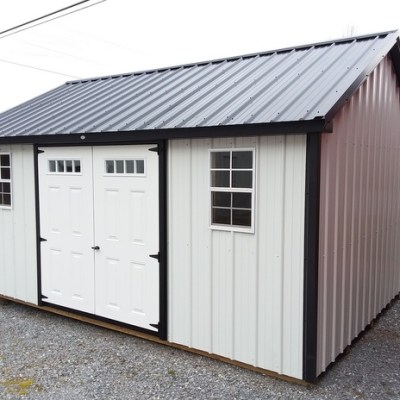 12 x 16 Metal Classic Black Trim, Alamo Metal Siding, Black Metal Roof, Corners and J Channel. L P Pro Struct Flooring and 6' Transom Double Doors. $4,287.00