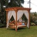 Cedar pergola swing bed stand home design garden amp architecture