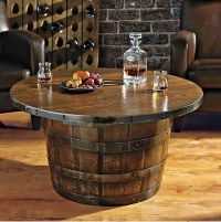 Handmade Round Vintage Oak Whiskey Barrel Table | Home ...