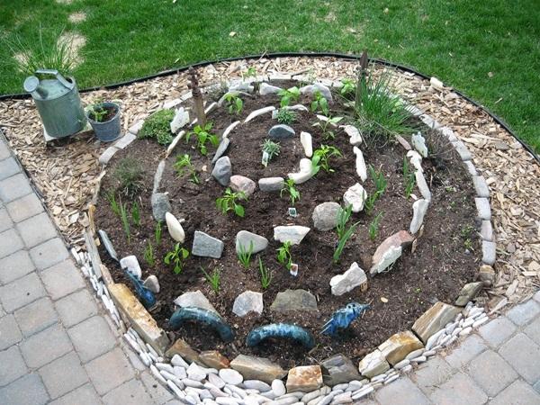 spirale di erbe aromatiche in giardino