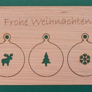 Holzkarte Frohe Weihnachten Front