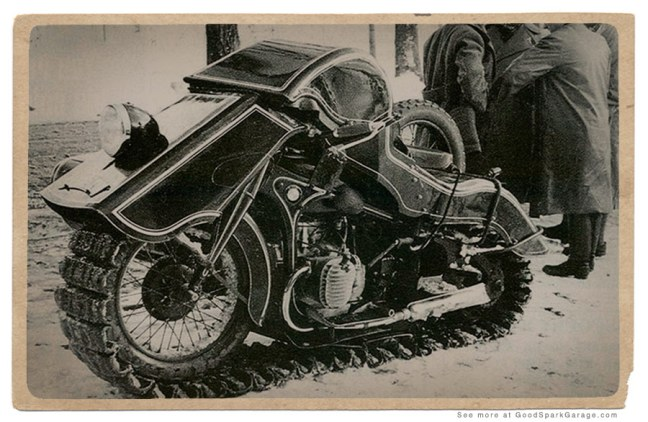 The 1936 BMW Schneekrad for when the going gets snowy.