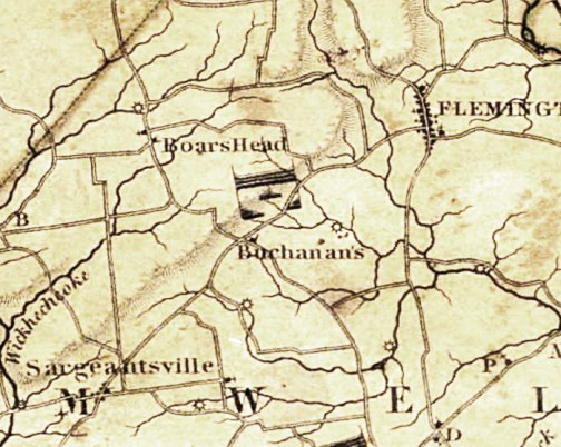 "Detail of 1828 Map of New Jersey ""Compiled under the Patronage of the Legislature of Said State by Thomas Gordon."""