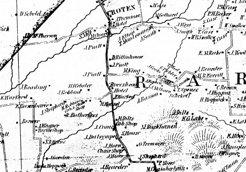 """Detail of the Cornell Map of 1851, showing the location of the Boarshead Tavern (""""Hotel"""") and Dr. James Pyatt."""