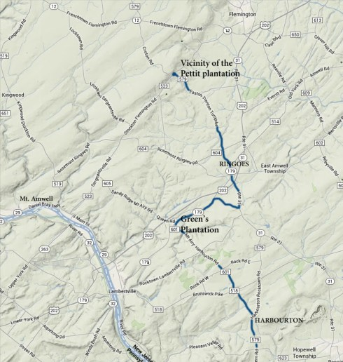 Estimated route of the Amwell Road, 1721