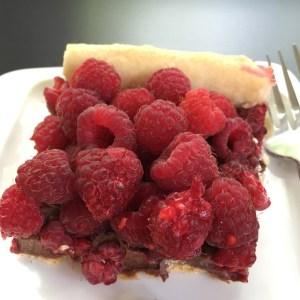 chocolate raspberry tart square
