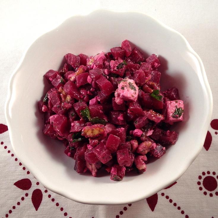 beet salad with feta and walnuts