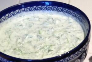 tzatziki cucumber sauce in a blue bowl