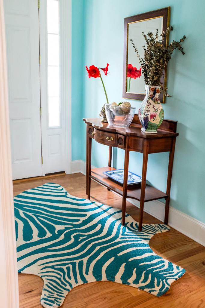 blue zebra rug