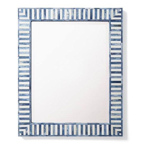 Blue and white bone inlay mirror