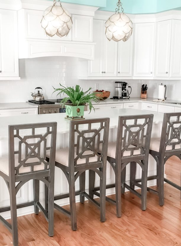 Counter stools with fretwork