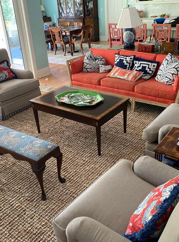 Chunky jute living room rug