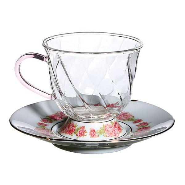 Высокие фьюжн чашки с блюдцами с розовым орнаментом, 2 штуки