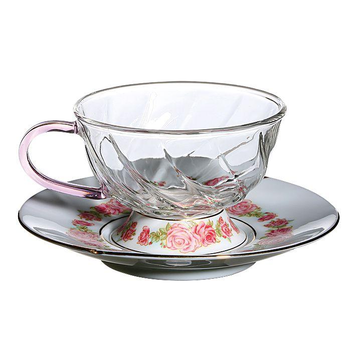 Низкие фьюжн чашки с блюдцами с розовым орнаментом, 2 штуки