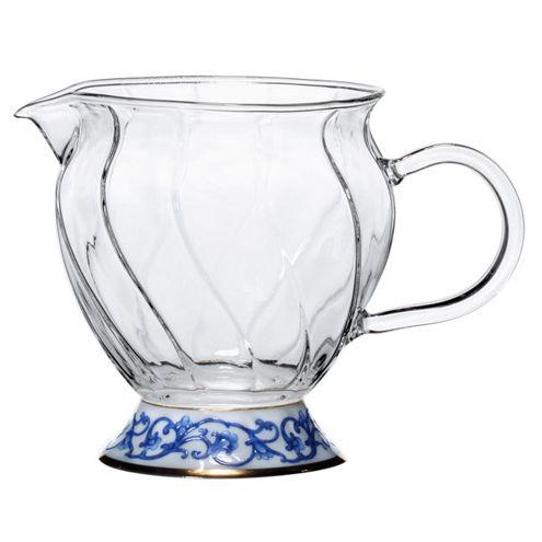 Фьюж сливник-молочник с синим орнаментом