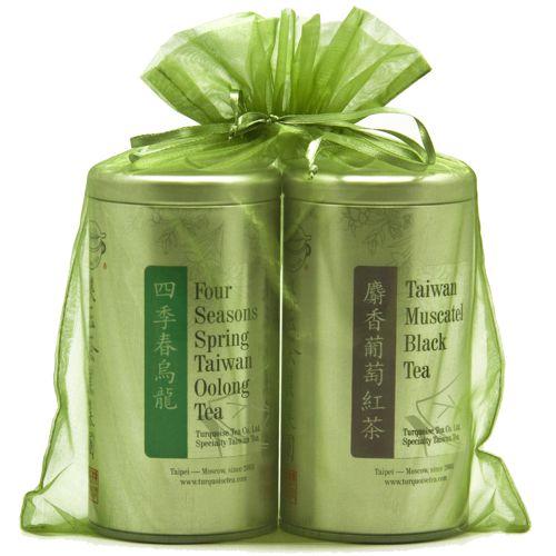 Подарочный набор из двух чаёв в милом зелёном мешочке
