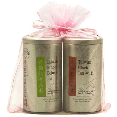 Подарочный набор из двух чаёв в милом розовом мешочке