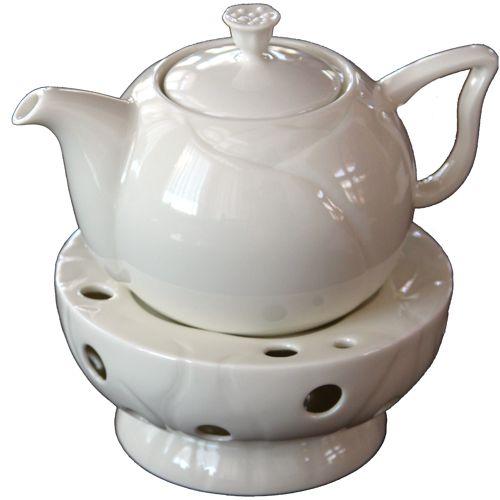 Чайник и подставка «Лотос» (слоновая кость)