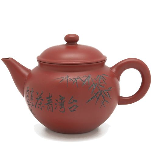 Глиняный классический чайник с резьбой (350 мл)