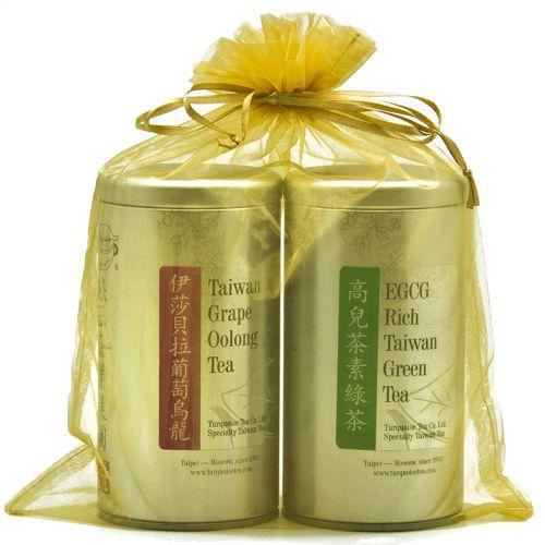 Подарочный набор из двух чаёв в ярком золотистом мешочке