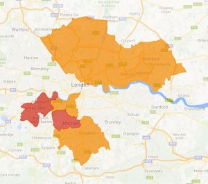 London CCGs (orange region shows CCGs which did not confirm level of homeopathy funding)