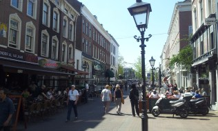 To the right is the Sijf's patio in the sun in this nice little old town street