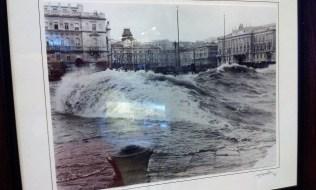 The Bora lashing against main square Triest