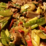 Thai grass-fed beef mint leaves and chili.