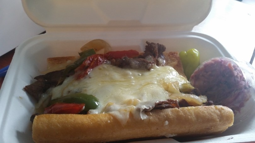 New York Cheese Steak: Organic, grass-fed roasted top round from Nectar Hills Farm, with local peppers, onions, and NY cheeses (you can add mixed mushrooms)