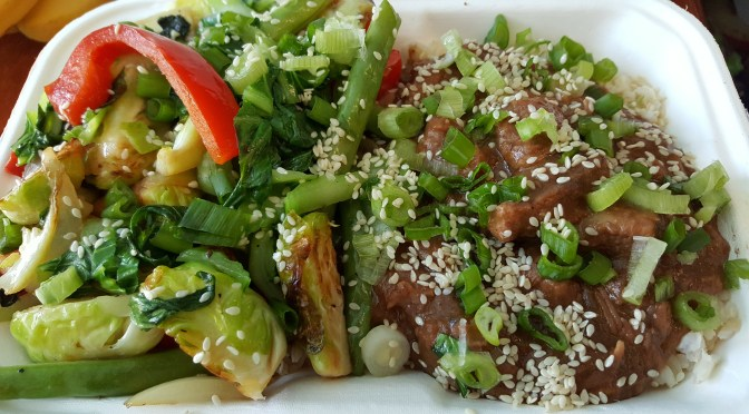 Mongolian Beef Bowl: Grass-fed chuck from Silverpoint Farm, mixed veggie stir-fry, on a bed of brown rice.