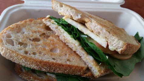 3 year old Palatine cheddar cheese melt with apple and greens, house mustard, on sourdough