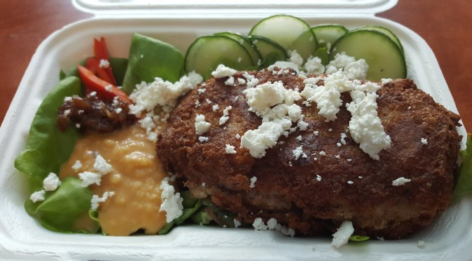Lamb Kibbeh: Local grass-fed lamb with house bulgur/potato crust, on a bed of lettuce, lentil harissa, Windy Hills Farm feta cheese, and date chutney.