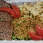 Shallot-Crusted Mac and Cheese with Grass-fed Meatloaf: Low-carb macaroni baked in 5 Palatine Cheese sauce, served on arugula, with Hu-Hill Meatloaf* and tomatoes.