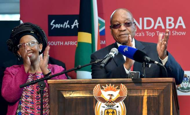 "South Africa tourism says ""I do"". President Jacob Zuma and Minister of Tourism Tokozile Xasa at the INDABA 2017. Source: GovernmentZA"